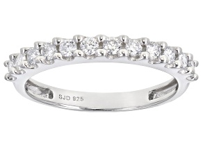 White Lab-Grown Diamond Rhodium Over Sterling Silver Band Ring 0.39ctw