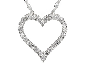 White Lab-Grown Diamond Rhodium Over Sterling Silver Heart Slide Pendant With Chain 0.47ctw