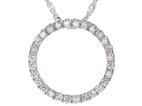 White Lab-Grown Diamond Rhodium Over Sterling Silver Circle Slide Pendant With Chain 0.50ctw