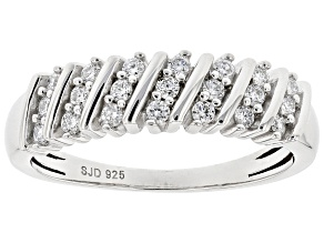 White Lab-Grown Diamond Rhodium Over Sterling Silver Band Ring 0.30ctw