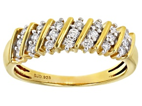 Engild™ White Lab-Grown Diamond 14k Yellow Gold Over Sterling Silver Band Ring 0.30ctw