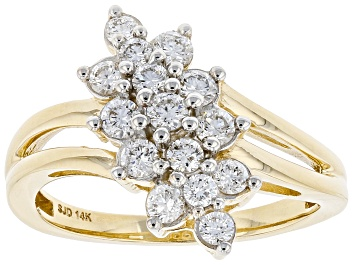 Picture of White Lab-Grown Diamond 14k Yellow Gold Cluster Ring 0.65ctw
