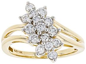 White Lab-Grown Diamond 14k Yellow Gold Cluster Ring 0.65ctw