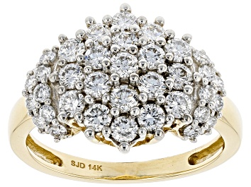 Picture of White Lab-Grown Diamond 14k Yellow Gold Cluster Ring 1.35ctw