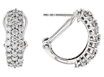 Picture of White Lab-Grown Diamond 14k White Gold J-Hoop Earrings 1.55ctw