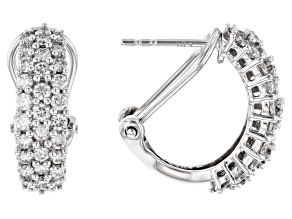 White Lab-Grown Diamond 14k White Gold J-Hoop Earrings 1.55ctw