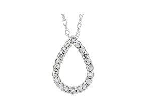 "White Lab-Grown Diamond 14k White Gold Slide Pendant with 18"" Chain 0.30ctw"