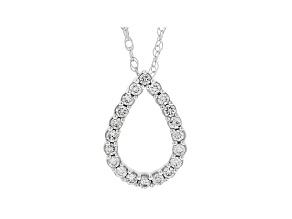 "White Lab-Grown Diamond 14k White Gold Slide Pendant with 18"" Chain 0.30ctw"