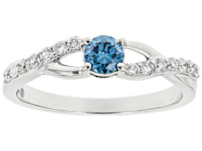Blue and White Lab-Grown Diamond 14k White Gold Engagement Ring 0.45ctw