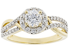 White Lab-Grown Diamond 14k Yellow Gold Halo Engagement Ring