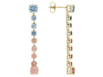 Picture of Pink and Blue Lab-Grown Diamond 14k Yellow Gold Dangle Earrings 3.00ctw