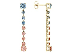 Pink and Blue Lab-Grown Diamond 14k Yellow Gold Dangle Earrings 3.00ctw