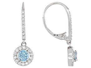 Blue and White Lab-Grown Diamond 14k White Gold Dangle Halo Earrings 1.00ctw