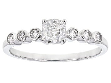 Picture of White lab-Grown Diamond 14k White Gold Engagement Ring 0.65ctw
