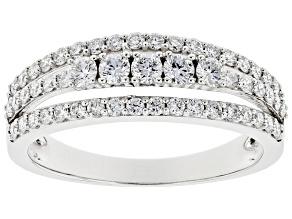 White Lab-Grown Diamond 14k White Gold Multi-Row Ring 0.70ctw