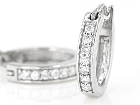 White Lab-Grown Diamond Sterling Silver Huggie Hoop Earrings 0.20ctw