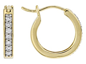 Engild™ White Lab-Grown Diamond 14k Gold Over Sterling Silver Huggie Hoop Earrings 0.20ctw