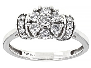 White Lab-Grown Diamond Rhodium Over Sterling Silver Cluster Ring 0.60ctw