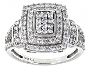White Lab-Grown Diamond Rhodium Over Sterling Silver Cluster Ring 0.95ctw
