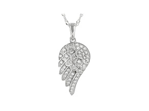 "White Lab-Grown Diamond Rhodium Over Silver Angel Wing Pendant With 18"" Singapore Chain 0.50ctw"