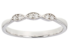 White Lab-Grown Diamond Accent Rhodium Over Sterling Silver Band Ring 0.09ctw