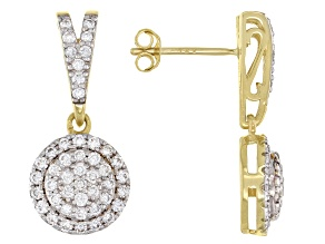 White Lab-Grown Diamond 14k Yellow Gold Cluster Dangle Earrings 0.90ctw