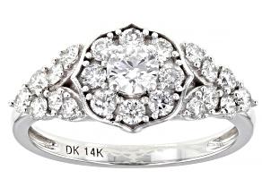 White Lab-Grown Diamond 14k White Gold Engagement Ring 0.90ctw