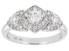 White Lab-Grown Diamond 14k White Gold 3-Stone Ring 0.80ctw