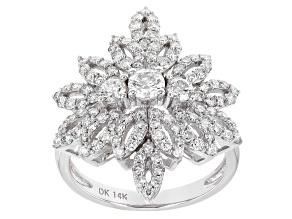 White Lab-Grown Diamond 14k White Gold Statement Ring 1.55ctw