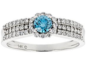 White And Blue Lab-Grown Diamond 14k White Gold Halo Ring 0.60ctw