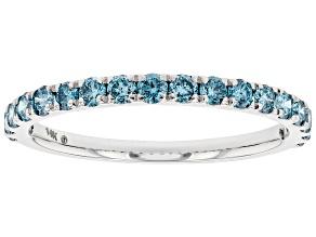 Blue Lab-Grown Diamond 14k White Gold Band Ring 0.55ctw