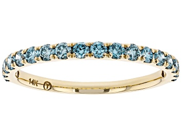 Picture of Blue Lab-Grown Diamond 14k Yellow Gold Band Ring 0.55ctw