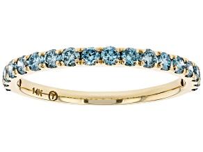 Blue Lab-Grown Diamond 14k Yellow Gold Band Ring 0.55ctw