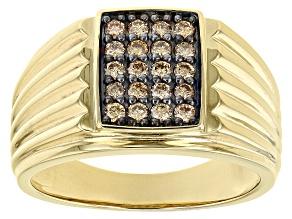 Champagne Lab-Grown Diamond 3k Yellow Gold Men's Cluster Ring 0.50ctw