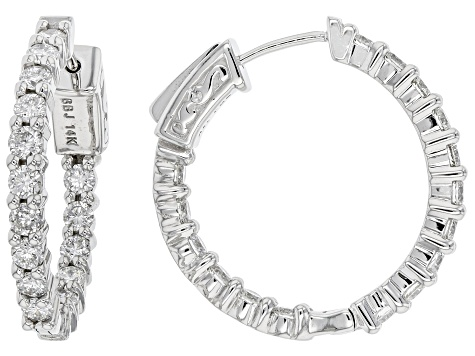 White Lab-Grown Diamond 14k White Gold Hoop Earrings 1.80ctw