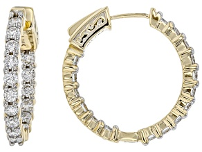 White Lab-Grown Diamond 14k Yellow Gold Hoop Earrings 1.80ctw