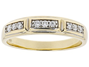 White Lab-Grown Diamond 14k Yellow Gold Men's Band Ring 0.20ctw