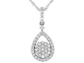"""White Lab-Grown Diamond 14k White Gold Pendant W/ 18"""" Singapore Chain 0.50ctw"""