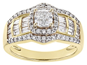 White Lab-Grown Diamond 3k Gold Engagement Ring 2.05ctw