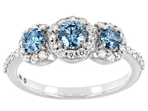 Blue And White Lab-Grown Diamond 14k White Gold 3-Stone Ring 1.09ctw