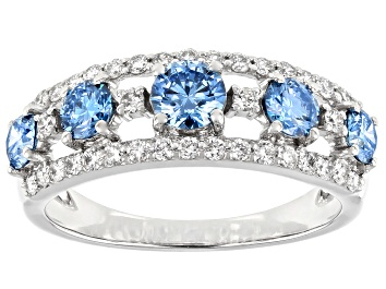 Picture of Blue And White Lab-Grown Diamond 14k White Gold Wide Band Ring 1.35ctw
