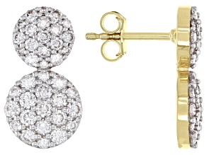White Lab-Grown Diamond 14k Yellow Gold Cluster Earrings 1.60ctw