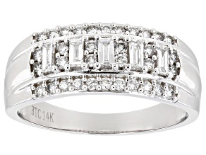 White Lab-Grown Diamond 14k White Gold Wide Band Ring 0.50ctw