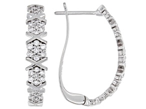 White Lab-Grown Diamond 14k White Gold J-Hoop Earrings 0.60ctw