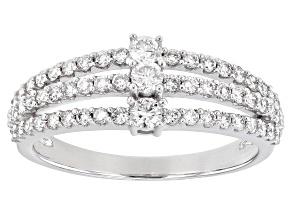 White Lab-Grown Diamond 14k White Gold 3-Stone Ring 0.70ctw