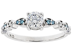 White And Blue Lab-Grown Diamond 14k White Gold Engagement Ring 0.66ctw