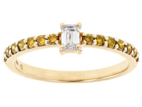 Yellow And White Lab-Grown Diamond 14k Yellow Gold Band Ring 0.50ctw