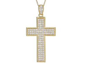 """White Lab-Grown Diamond 18k Yellow Gold Over 3k Gold Mens Cross Pendant With 18"""" Cable Chain 1.05ctw"""