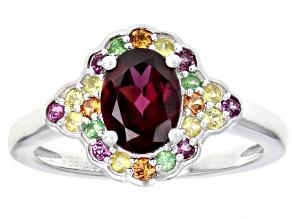 Purple raspberry rhodolite sterling silver ring 1.62ctw