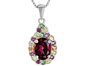 Raspberry color rhodolite silver pendant with chain 1.51ctw